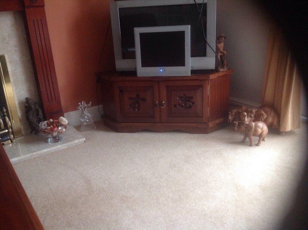 Solid mahogany corner tv unit