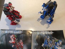 Lego Bionicle 2 models used, 95% complete. Kahdok and Gahdok, with instructions