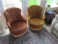 Two lovely buttonback chairs, suitable as they are OR recover project