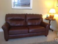 Brown Leather G Plan 3 Piece Suite in excellent condition.