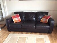 3 Seater Natuzzi chocolate leather sofa