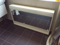 Large 3 door mirrored bathroom cabinet with light & shaving plug