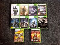 Xbox 360 console 2 genuine Xbox controllers and 10 games