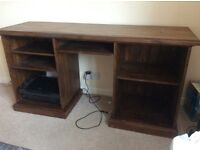 Stained pine desk for sale.