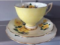 Royal Standard Yellow Floral Bone China Trio.