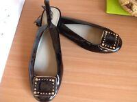 Ladies M&S Portfolio black patent flat sling backs size 6