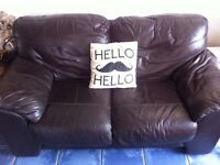 Offer - Two seater leather sofa, brown (taken pending collection)