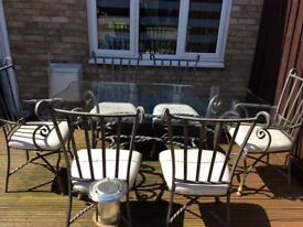 Metal and Glass table 6chairs