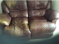 3 and 2 seater brown leather sofa with electric recliners
