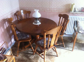 4 seater solid wood dining table & chairs