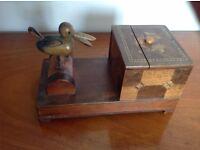Vintage Marquetry Cigarette Box Novelty Duck/Bird Cigarette Dispenser