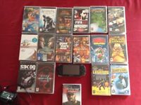 PSP + charger and 17games