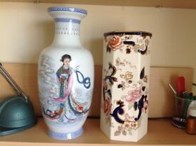 2 Vases, Japanese Style/Masons Stoneware both 50 years old