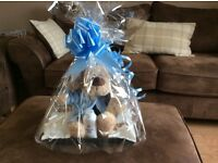 Keepsake baby cardies, hoodies etc, talc, baby wipes, teddy, gift wrapped, new baby, baby shower etc