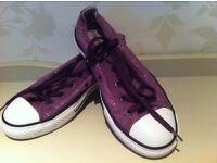 Purple sparkly converse size 3.5