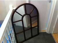 Large mahogany mirror with chain attached for easy hanging