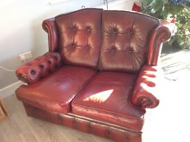 2 person Queen Anne Chesterfield leather sofa