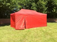 Gazebo awnings 3m x 4.5m or 3m x 6m blue or green, with full sides and door new boxed,small size 130