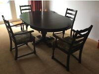 oak table and four chairs good condition table 116cm extended 157cm matching dresser available