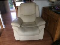 Cream leather look recliner chair