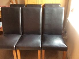 6 black faux leather dining chairs
