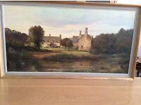 Two oil paintings. EJ Wilson, local Cotswold artist.