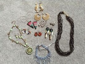 3 vintage necklaces one with matching earrings and earrings