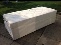 Single Cream Divan Bed with pull out guest bed (mattresses included) Good Condition