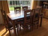 Dining table and 6 chairs. Solid wood.