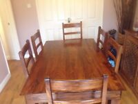 Sheesham dining room table & 6 chairs
