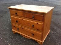 Beautiful solid pine throughout two over two chest of drawers