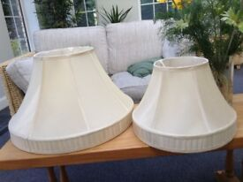 2 Cream Silk Lampshades for standard and table lamp