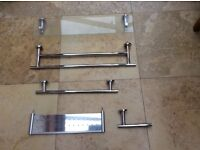 Towell Rails, Shelves and Toilet Roll Holder -- Used