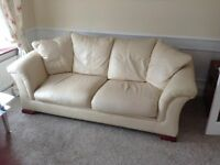 Cream leather 2 and 3 seater settee