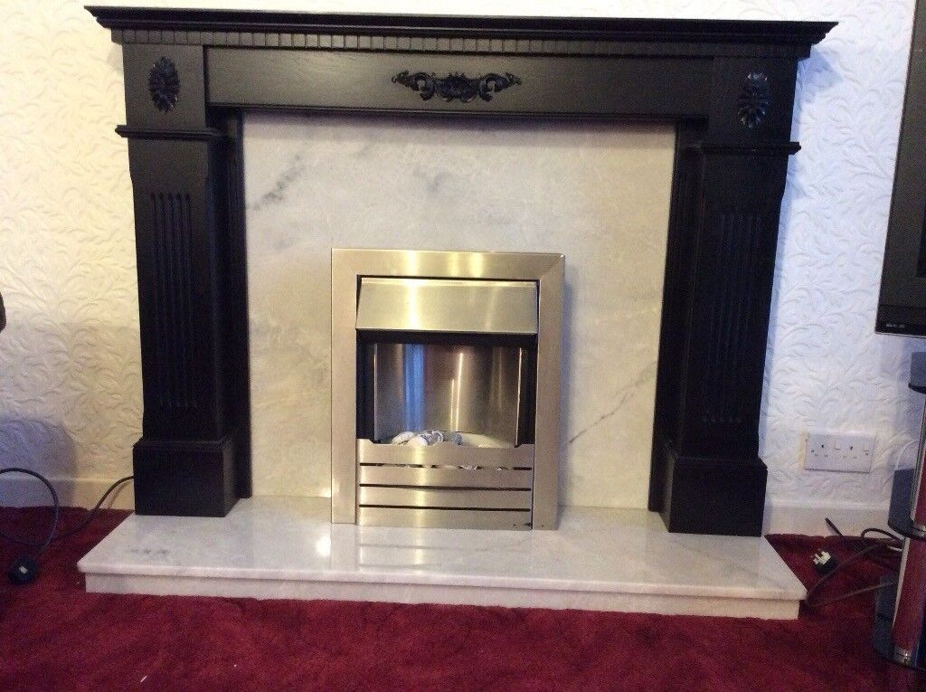 Black And Grey Marble Fire Surround