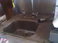 Commercial Stainless Steel Sink with Jet Spray Tap & Steel Tray Holder & Splashback