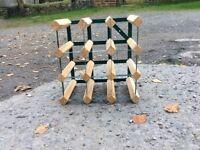 Wooden and metal wine rack