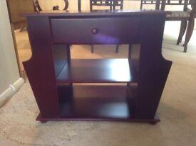Vintage side table/companion table with magazine rack