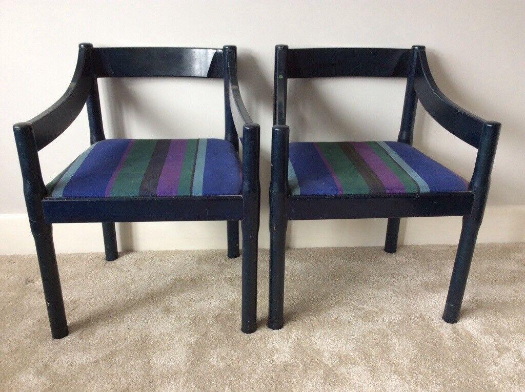 Pair vintage vico magistretti carver dining chairs habitat carimate