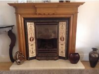 Beautiful Victorian Cast Iron Fireplace & Real Wood Surround
