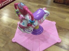 Fisher Price bounce spin pink zebra baby