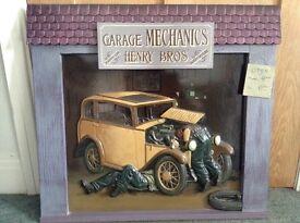 3D wooden Painting of garage-Country Corner registered design mechanics working on vintage car
