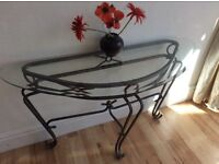 WROUGHT IRON GLASS HALL TABLE