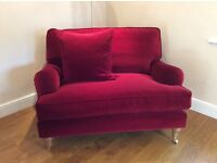 Chaise sofa, 2 seat sofa, loveseat, small footstool & large footstool. Also, red velvet loveseat.