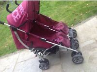 Double buggy side by side cosatto sugar and spice dark pink
