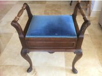 Mahogany Piano Stool or dressing table stool with storage for music ormakeup