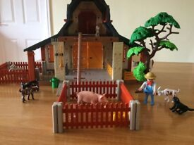 Playmobil barn and sheriff office includes lots of animals and characters