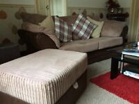 Brown corduroy settees, 1x3 & 1x2 and storage footstool, all in excellent condition, non smokers