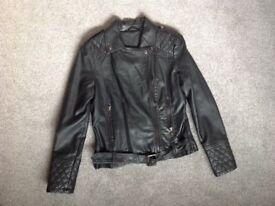 Julian MacDonald womens black leather biker style jacket size 14