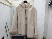 Cream Leather Jacket, size 20, toggle buttons, not hardly worn, in excellent condition. £15.00